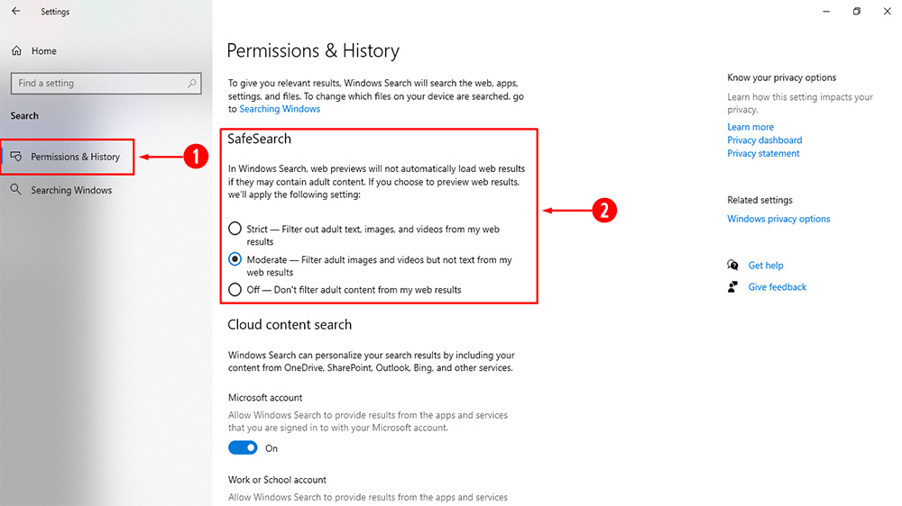 Steps to change SafeSearch Filter Setting in Settings