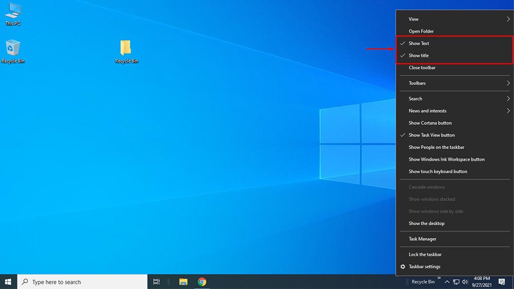 Steps to Pin Recycle Bin to Taskbar in Windows 10
